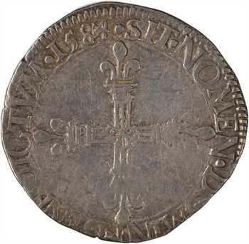 Henri III, quart d'écu, écu de face, 1584 Tours