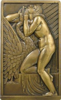 Lavrillier (A.) : Léda et le cygne, plaque, s.d. (1925) Paris