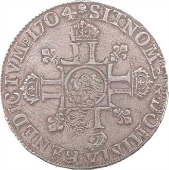 Louis XIV, écu aux huit L, 2e type, 1704 Troyes