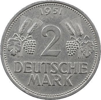 Allemagne (République fédérale), 2 mark, 1951 Stuttgart