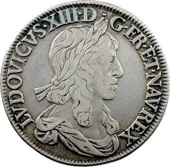 Louis XIII, écu d'argent, 2e type (1er poinçon), 1642 Paris