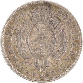 Bolivie, 20 cts en argent, 1877 FE