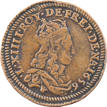 Louis XIV, jeton monétiforme à l'avers du liard au double grènetis (anciennement essai du liard aux quatre lis), 1656-1657 Vimy