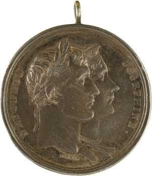 Premier Empire, Napoléon et Joséphine, par Brenet, détournée en médaille de mariage, 1808 Paris