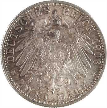 Allemagne, Bade (Grand-duché de), Frédéric Ier, 2 mark d'hommage, 1906 Karlsruhe