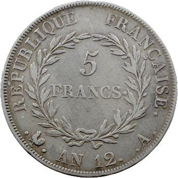 Consulat, 5 francs, An 12 Paris, variété à grènetis fin