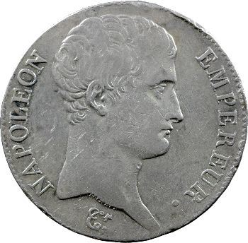 Premier Empire, 5 francs tête nue, calendrier grégorien, 1806 Paris