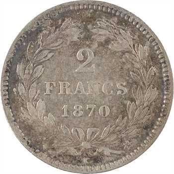 Gvt de Défense nationale, 2 francs Cérès sans légende, 1870 Bordeaux