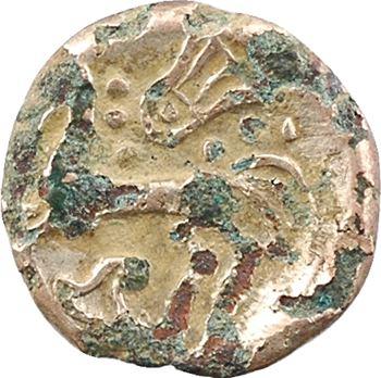 Bituriges, quart de statère à la lyre et au triskèle, fourré, c. IIe s. av. J.-C.