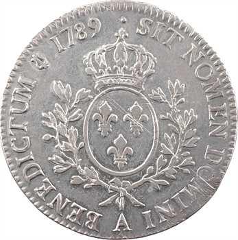 Louis XVI, écu aux branches d'olivier, 1789, 1er semestre, Paris