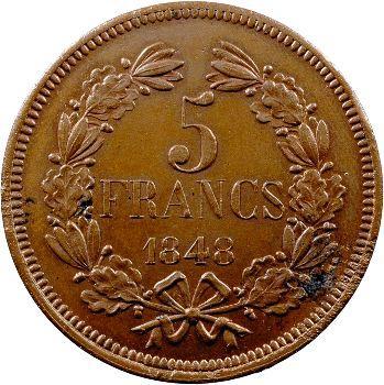 IIe République, concours de 5 francs par Alard, 1848 Paris