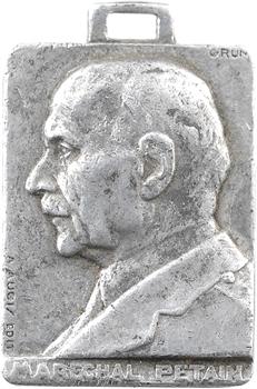 IIe Guerre Mondiale, médaillette, le maréchal Pétain, par S. Grün, s.d. Paris