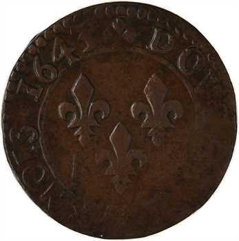Louis XIII, double tournois, type de Warin, légende française, 1643 atelier indéterminé
