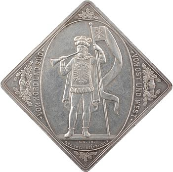 Allemagne, 8e concours de tir de Leipzig, médaille-klippe par Helfricht, 1874
