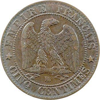 Second Empire, cinq centimes tête laurée, 1863 Strasbourg