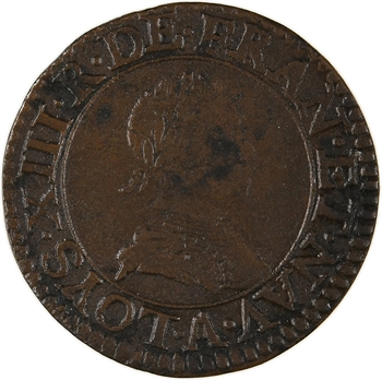 Louis XIII, double tournois 1er type, 1617 Paris