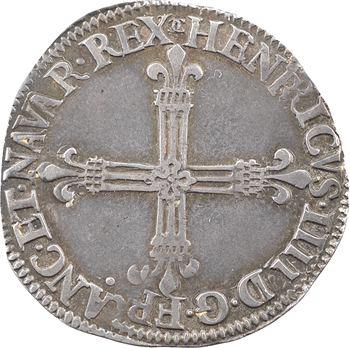 Henri IV, quart d'écu, croix fleurdelisée de face, 1590 Châlons-en-Champagne