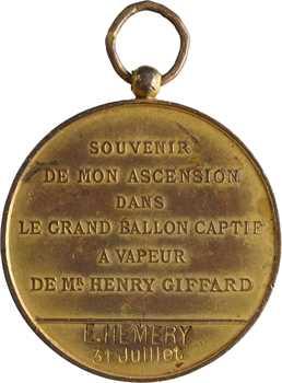 Aéronautique, ascension en ballon captif à vapeur, 1878 Paris