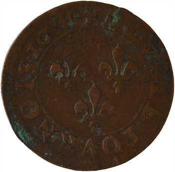 Louis XIII, double tournois 2e type, 1640 Rouen