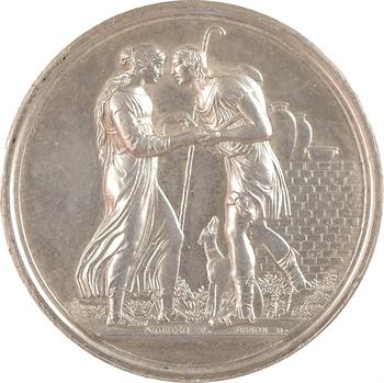 Louis XVIII, médaille de mariage en argent, par Andrieu, 1820 Paris