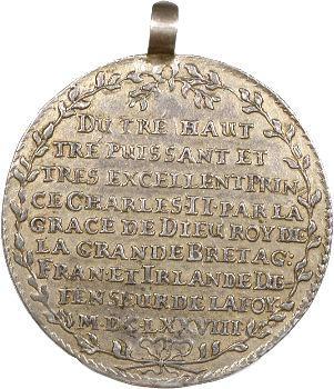 Saxe, médaille (pseudo-thaler) pour Charles II, ordre de la jarretière, 1678
