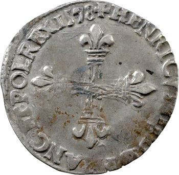 Henri III, huitième d'écu croix de face, 1578 Rennes