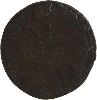 Monaco, Honoré III, demi-pezzetta ou 1 sol 6 deniers, 1735 Monaco