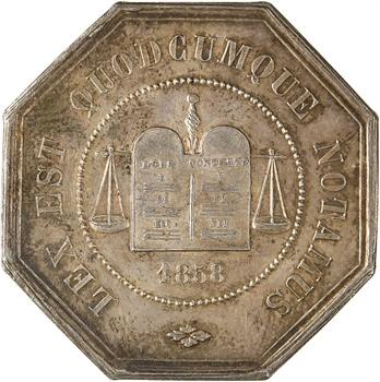 IIIe République, jeton de la compagnie des notaires de Péronne, 1858 (après 1880) Paris