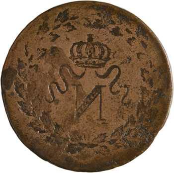Premier Empire, un décime à l'N couronnée, s.d., variété frappe incuse
