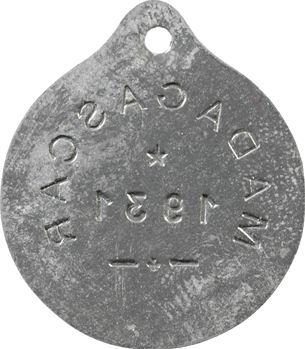 Madagascar, plaque de taxe, 1931