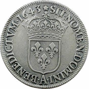 Louis XIII, écu d'argent, 3e type (2e poinçon), 1643 Paris