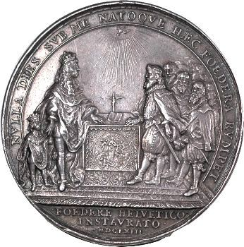 Louis XIV, Alliance avec les Suisses par Jean Warin, 1663 Paris