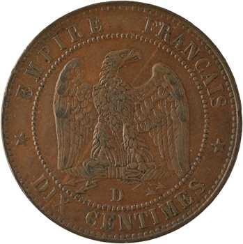 Second Empire, dix centimes tête nue, 1855 Lyon