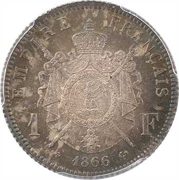 Second Empire, 1 franc tête laurée, 1866 Strasbourg, PCGS MS65