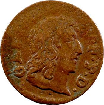 Dombes (principauté de), Gaston d'Orléans, denier tournois type 10, 1650 Trévoux