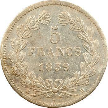 Louis-Philippe Ier, 5 francs IIe type Domard, 1839 Lyon