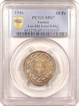 Tunisie (Protectorat français), Mohamed Lamine, essai de 10 francs, date incomplète, poids léger, PCGS SP67, 194X Paris