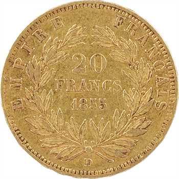Second Empire, 20 francs tête nue, 1855 Lyon variété petit lion