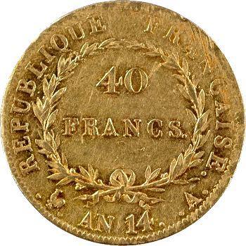 Premier Empire, 40 francs tête nue, calendrier révolutionnaire, An 14 Paris