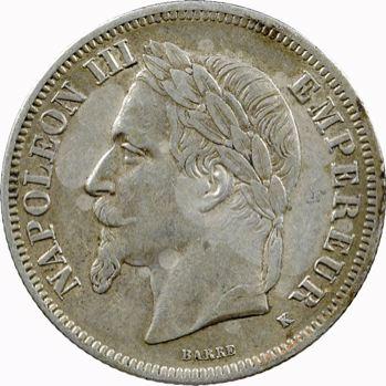 Second Empire, 2 francs tête laurée, 1867 Bordeaux