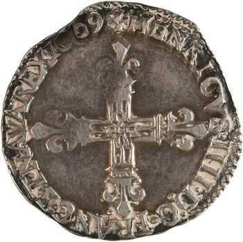 Henri IV, huitième d'écu, croix fleurdelisée de face, 1609 Nantes