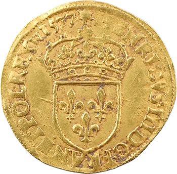 Henri III, écu d'or au soleil 3e type, sans lettre d'atelier, 1577 Paris