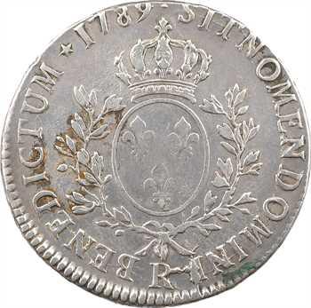 Louis XVI, écu aux branches d'olivier, 1789 Orléans