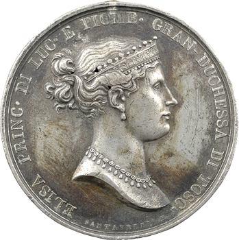 Italie, Elisa Bonaparte et Félix Baciocchi, Elisa nommée Grande Duchesse de Toscane, épreuve uniface par Santarelli, 1809