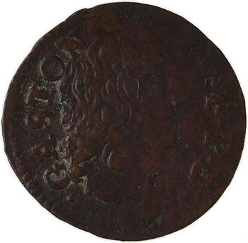 Dombes (principauté des), Gaston d'Orléans, denier tournois 12e type, 1651 Trévoux