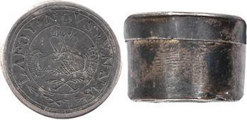 Treizain de mariage, boîte en argent et douze deniers bractéates LA FOY NOUS UNNIS (sic!), XVIIIe s.