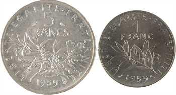 Ve République, coffret de deux essais 1 et 5 francs Semeuse, 1959 Paris