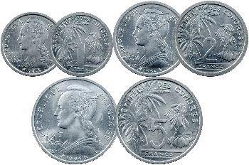 Comores, étui de 5 essais de 1, 2, 5, 10 et 20 francs, 1964 Paris