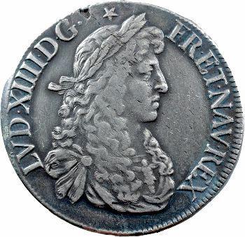 Louis XIV, écu au buste juvénile, 2e effigie, 1665 Rennes