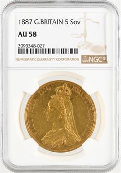Royaume-Uni, Victoria, 5 livres (pounds), 1887 Londres, NGC AU58